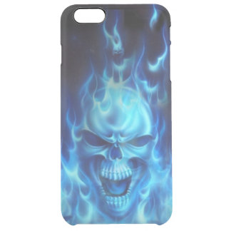 cabeza azul del cráneo con las llamas tribales funda clearly™ deflector para iPhone 6 plus de unc