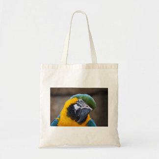 cabeza azul del macaw del loro del oro inclinada bolsa