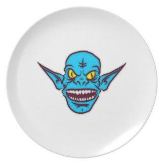 Cabeza azul del monstruo del Goblin Plato