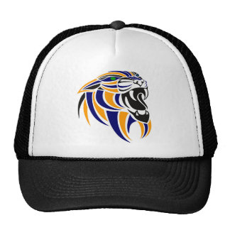 Cabeza azul y anaranjada del tigre gorros bordados