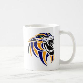 Cabeza azul y anaranjada del tigre taza de café