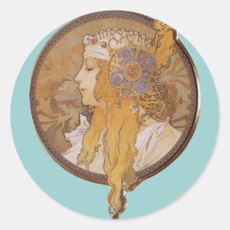 Cabeza bizantina del ~ de Alfonso Mucha: El Blonde Pegatina Redonda