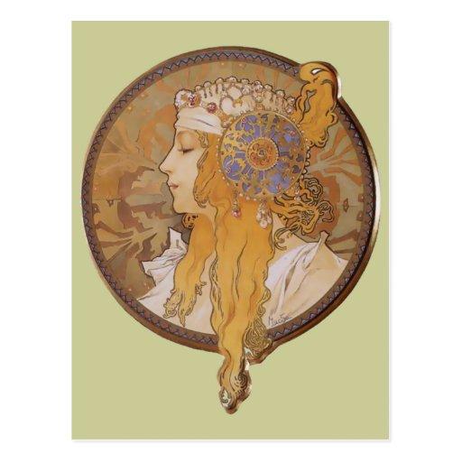 Cabeza bizantina del ~ de Alfonso Mucha: El Blonde Postal