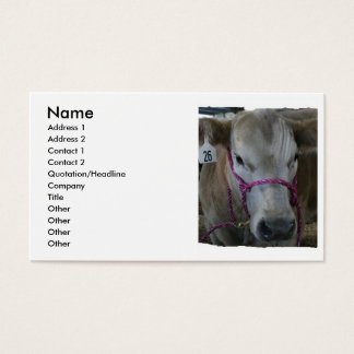 Cabeza blanca de la vaca tirada en la feria del tarjetas de visita