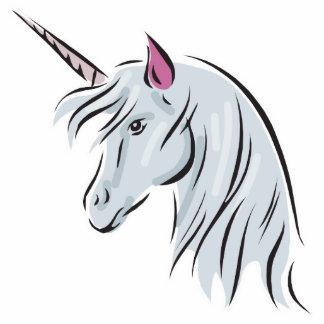 cabeza blanca del unicornio fotoescultura vertical