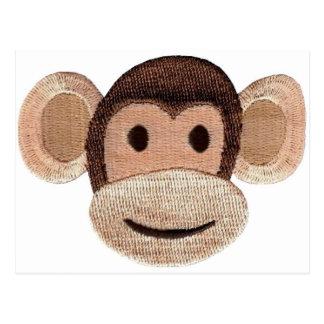 Cabeza bordada del mono postales