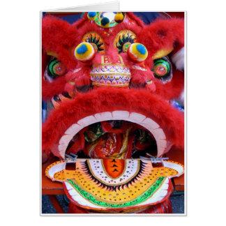 Cabeza china del dragón tarjeta de felicitación