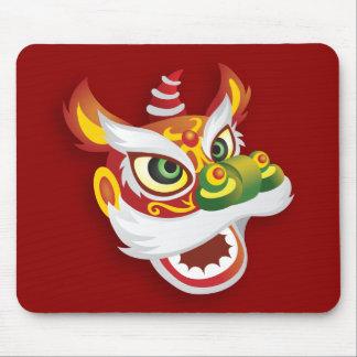 Cabeza china del león - rojo tapetes de ratón