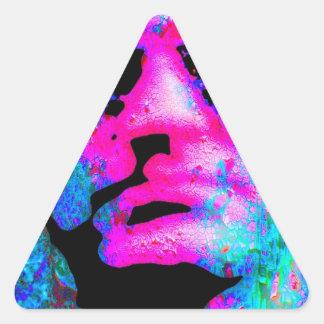 cabeza coloreada que mira fijamente pegatina triangular