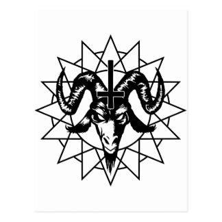Cabeza con la estrella del caos (negro) postales