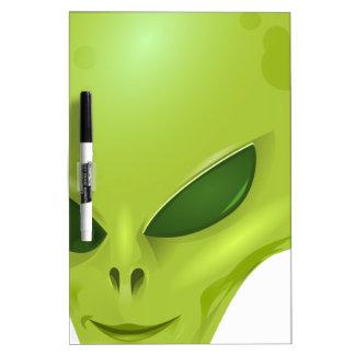 cabeza cósmica marciana extranjera del verde de la pizarras blancas