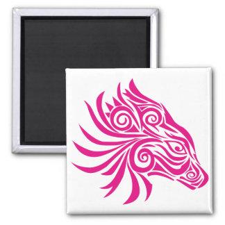 Cabeza de caballo abstracta rosada imanes de nevera