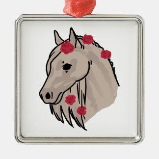 Cabeza de caballo adorno navideño cuadrado de metal