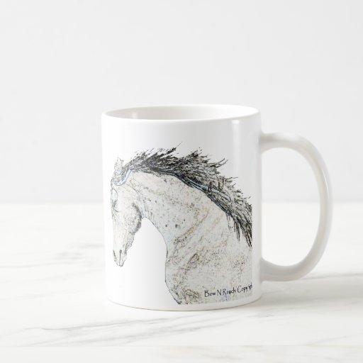 Cabeza de caballo bosquejada taza