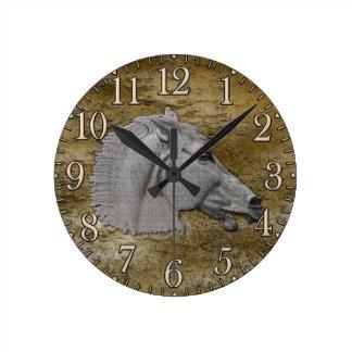 Cabeza de caballo clásica de la mitología griega reloj redondo mediano