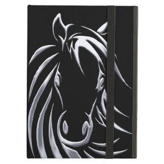 Cabeza de caballo de plata en negro