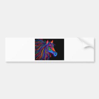 cabeza de caballo del arco iris etiqueta de parachoque