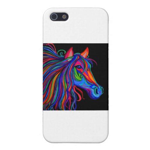 cabeza de caballo del arco iris iPhone 5 fundas
