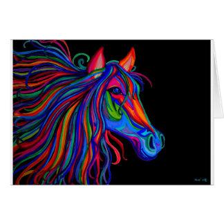 cabeza de caballo del arco iris tarjeta de felicitación