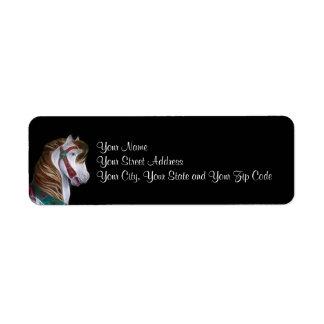 Cabeza de caballo del carrusel etiqueta de remite