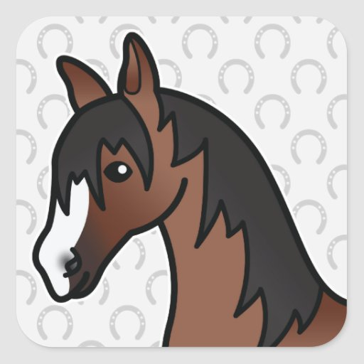Cabeza de caballo del dibujo animado de Brown Pegatina Cuadradas