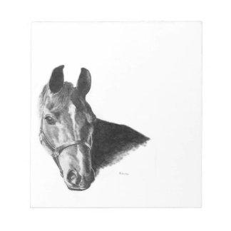 Cabeza de caballo del grafito bloc de papel