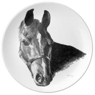 Cabeza de caballo del grafito plato de cerámica