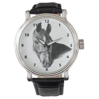 Cabeza de caballo del grafito reloj de mano