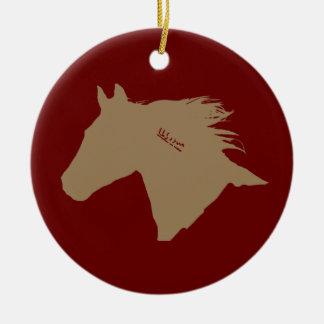 Cabeza de caballo del mustango adorno navideño redondo de cerámica