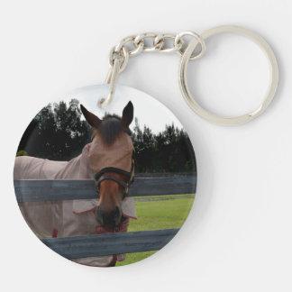 Cabeza de caballo encendido sobre máscara de la llavero redondo acrílico a doble cara