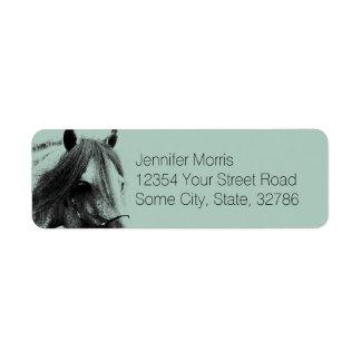 Cabeza de caballo gris etiqueta de remitente