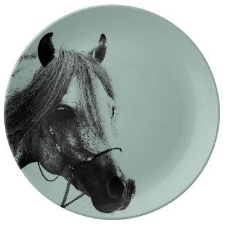 Cabeza de caballo gris platos de cerámica