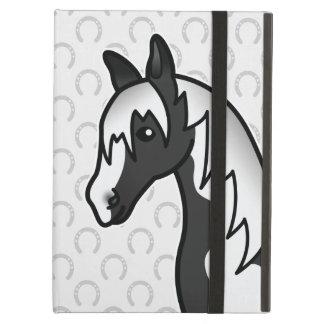 Cabeza de caballo negra del dibujo animado del Pin