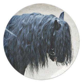 Cabeza de caballo negra platos de comidas