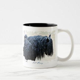 Cabeza de caballo negra taza de dos tonos