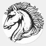 Cabeza de caballo pegatina redonda