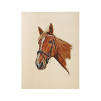 cabeza de caballo, resplandor blanco. Arte. Póster De Madera