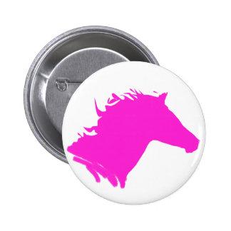 Cabeza de caballo rosada llana pin redondo de 2 pulgadas