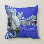 cabeza de caballo sobre el azul de la cerca colore almohada