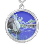 cabeza de caballo sobre el azul de la cerca colore collar personalizado