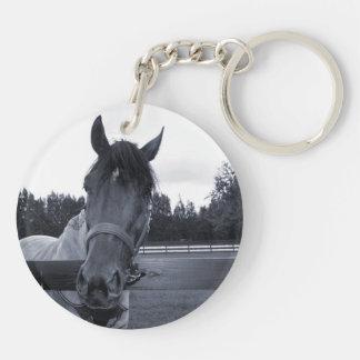 Cabeza de caballo sobre la cabeza de la cerca en llavero redondo acrílico a doble cara