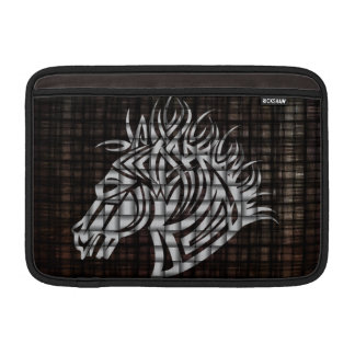 Cabeza de caballos estilizada en un fondo tejido fundas MacBook