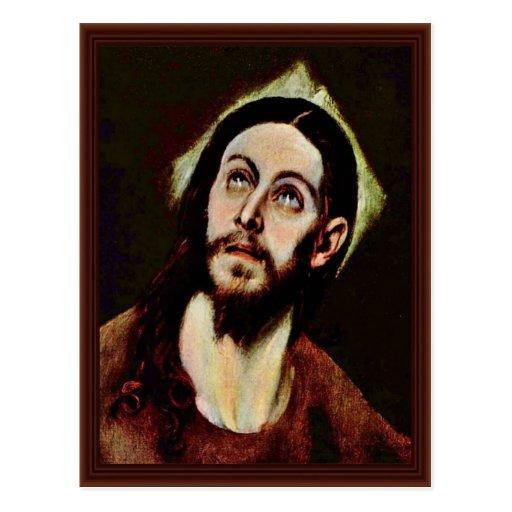 Cabeza de Cristo por el EL de Greco Tarjetas Postales