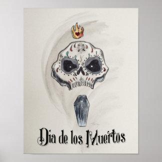 Cabeza de Dia de los Muertos Skull Póster
