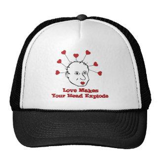 Cabeza de estallido del amor gorras
