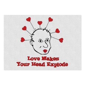 Cabeza de estallido del amor tarjeta de visita