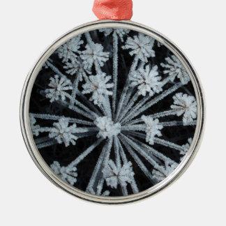 Cabeza de flor congelada invierno pagano adorno redondo plateado