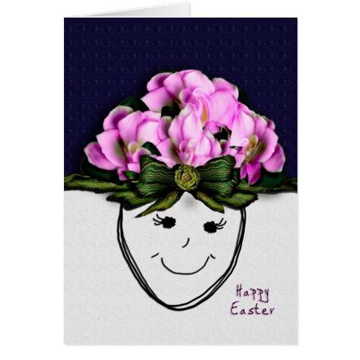Cabeza de flor feliz de Pascua Tarjetas