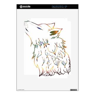 Cabeza de grito del lobo iPad 2 calcomanía