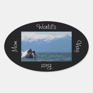 Cabeza de la ballena jorobada; El día de padre Colcomanias Ovaladas Personalizadas